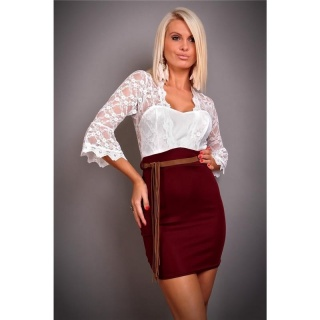 PRECIOUS EVENING DRESS WITH LACE BELT WHITE/WINE-RED