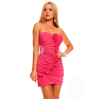 SEXY BANDEAU EVENING DRESS MINI DRESS RHINESTONES FUCHSIA