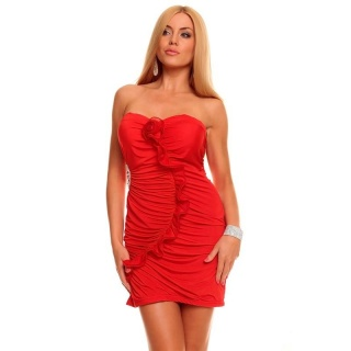 SEXY BANDEAU EVENING DRESS MINIDRESS RHINESTONES RED