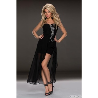 NOBLE BANDEAU EVENING COCKTAIL DRESS WITH CHIFFON VEIL BLACK