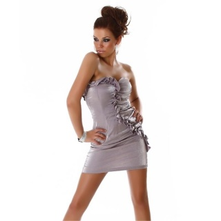 ELEGANT BANDEAU MINIDRESS WITH QUILLINGS SILVER