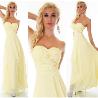 NOBLE FLOOR-LENGTH STRAPLESS GOWN EVENING DRESS CHIFFON YELLOW