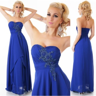 NOBLE FLOOR-LENGTH STRAPLESS GOWN EVENING DRESS CHIFFON ROYAL BLUE