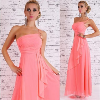 NOBLE FLOOR-LENGTH ONE-SHOULDER CHIFFON EVENING GOWN NEON-PINK