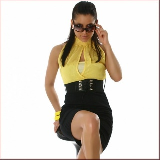 SEXY BUSINESS PENCIL DRESS WITH BELT BLACK / YELLOW