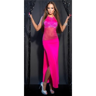 PRECIOUS DIVA CHIFFON EVENING DRESS WITH RHINESTONES FUCHSIA