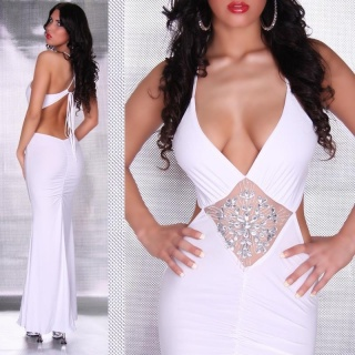GLAMOUR EVENING DRESS WITH RHINESTONES WHITE
