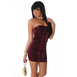 ELEGANT GLAMOUR CORSAGE DRESS BANDEAU DRESS WINE-RED