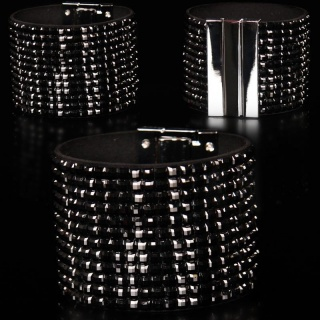 EDLES GLAMOUR PARTY-ARMBAND STRASS-LOOK SCHMUCK SCHWARZ