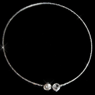 NOBLE GLAMOUR NECKLACE WITH RHINESTONES FASHION JEWELLERY SILVER