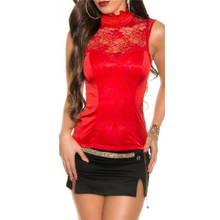 NOBLE GLAMOUR TOP MADE OF SATIN WITH LACE AND ZIPPER RED