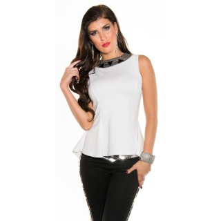 NOBLE GLAMOUR TOP WITH METAL BEADS WHITE