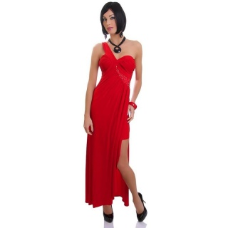 PRECIOUS LONG ONE-SHOULDER EVENING DRESS WITH RHINESTONES RED
