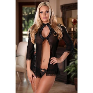 NOBLE NIGHT CHEMISE NEGLIGEE IN ASIA LOOK NIGHTDRESS INCL. THONG BLACK