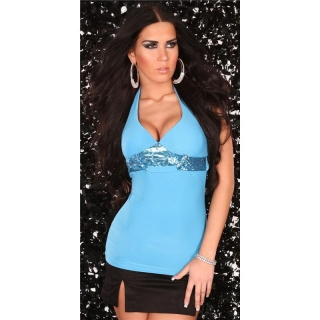 PRECIOUS HALTERNECK TOP WITH SEQUINS TURQUOISE