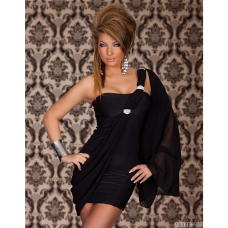 SEXY ONE-SHOULDER EVENING DRESS MINI DRESS BLACK