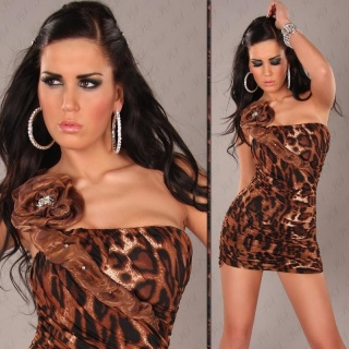ELEGANT ONE-SHOULDER MINIDRESS WITH TULLE LEOPARD