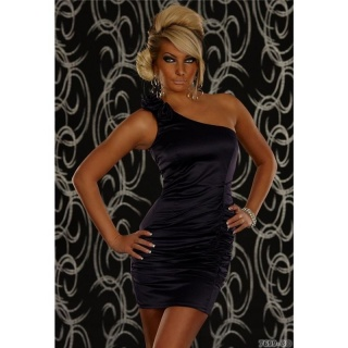 ELEGANT ONE-SHOULDER SATIN MINIDRESS PURPLE