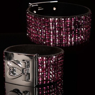 PRECIOUS PARTY ARMLET WITH HEART FASTENER RHINESTONE LOOK
