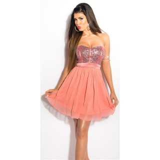 NOBLE PARTY BANDEAU CHIFFON EVENING DRESS WITH SEQUINS CORAL