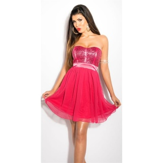 NOBLE PARTY BANDEAU CHIFFON EVENING DRESS WITH SEQUINS FUCHSIA