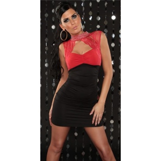 PRECIOUS PARTY MINI DRESS WITH LACE RHINESTONES BLACK/RED