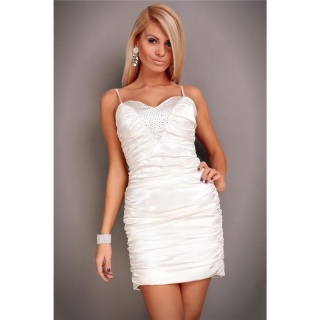PRECIOUS SATIN EVENING DRESS MINIDRESS WITH RHINESTONES CREAM
