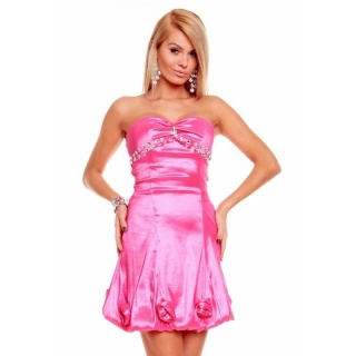 ELEGANT SATIN BALLOON DRESS BANDEAU DRESS WITH RHINESTONES FUCHSIA