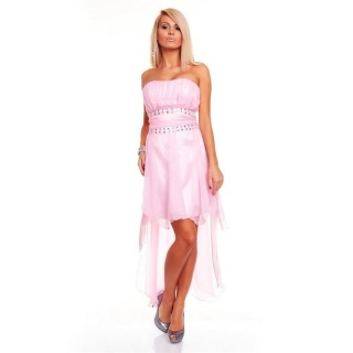 SEXY SATIN BANDEAU EVENING DRESS CHIFFON RHINESTONES PINK