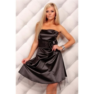 PRECIOUS SATIN BANDEAU DRESS EVENING DRESS WITH LACE BLACK