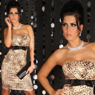 SEXY SATIN SHEATH DRESS LEOPARD-LOOK