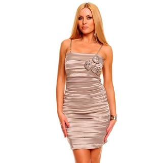 ELEGANT SATIN EVENING DRESS SHEATH DRESS WITH DRAPES BEIGE