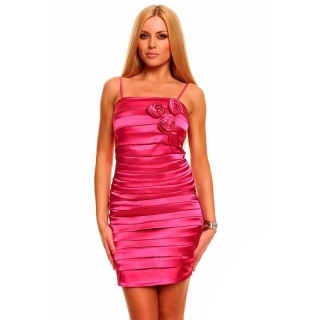 ELEGANT SATIN EVENING DRESS SHEATH DRESS WITH DRAPES FUCHSIA