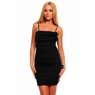 ELEGANT SATIN EVENING DRESS SHEATH DRESS WITH DRAPES BLACK