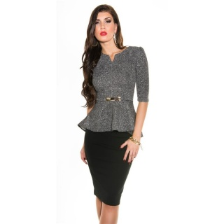 NOBLE PEPLUM SHIRT WITH BUCKLE BLACK/WHITE