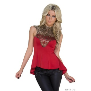 NOBLE WAISTED GLAMOUR LONG TOP WITH EMBROIDERY RED/GOLD
