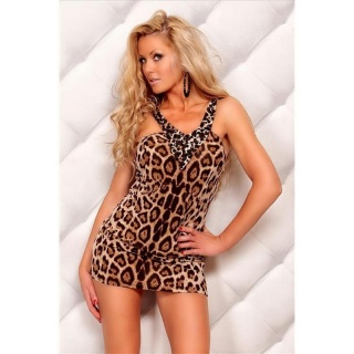 SEXY STRAP MINIDRESS WITH RHINESTONES LEOPARD