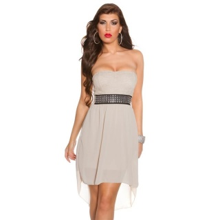 ELEGANT STRAPLESS CHIFFON EVENING DRESS WITH FINE LACE BEIGE