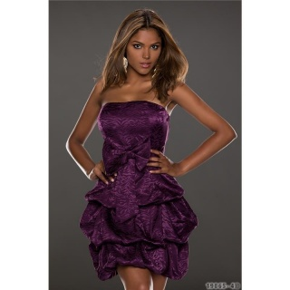 NOBLE STRAPLESS SATIN BALLOON DRESS BANDEAU DRESS PURPLE
