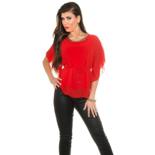 ELEGANT CHIFFON-BLOUSE WITH BAT SLEEVES AND CHAIN RED