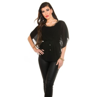 ELEGANT CHIFFON-BLOUSE WITH BAT SLEEVES AND CHAIN BLACK