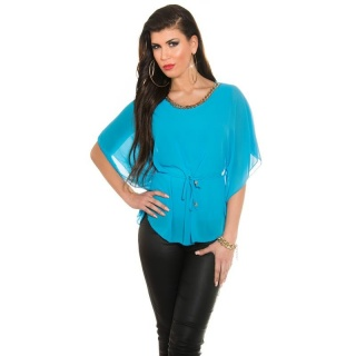 ELEGANT CHIFFON-BLOUSE WITH BAT SLEEVES AND CHAIN TURQUOISE