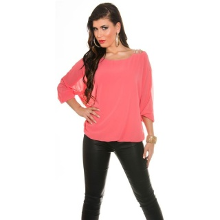 ELEGANT CHIFFON-BLOUSE WITH BAT SLEEVES AND RHINESTONES CORAL