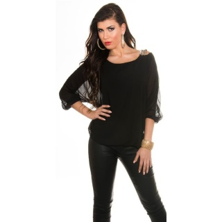 ELEGANT CHIFFON-BLOUSE WITH BAT SLEEVES AND RHINESTONES BLACK