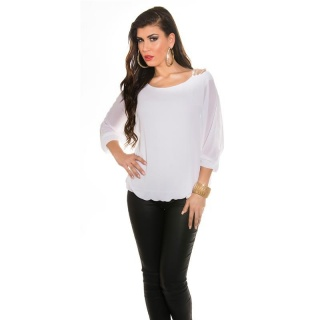 ELEGANT CHIFFON-BLOUSE WITH BAT SLEEVES AND RHINESTONES WHITE