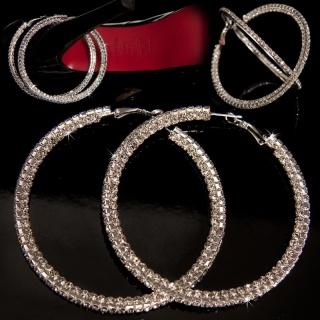 PRECIOUS RHINESTONE HOOP EARRINGS SILVER
