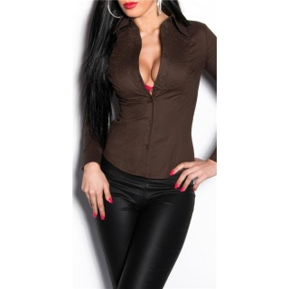 ELEGANT FORM-FITTING LONG-SLEEVED BUSINESS BLOUSE WAISTED BROWN