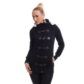 PRECIOUS FLEECE SHORT-COAT JACKET WITH TOGGLE CLOSURE BLACK
