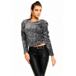 ELEGANT GLAMOUR JACKET WITH SEQUINS PARTY DARK GREY