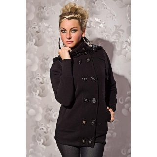 ELEGANT JACKET WITH HOOD BLACK
